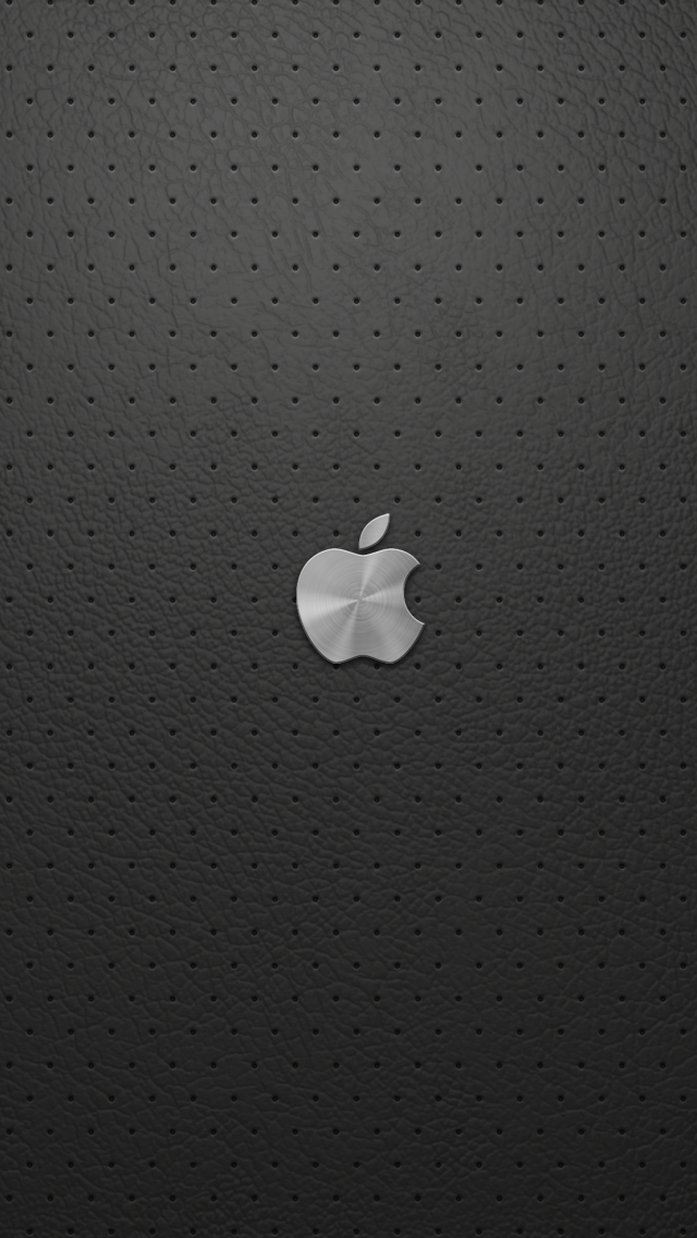 Apple logo on leather, gray leather wallpaper 640x1136