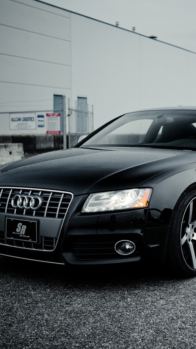 black audi car iPhone 5 wallpaper 640x1136