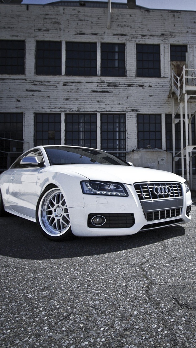 White Audi Car iPhone Wallpaper 640x1136
