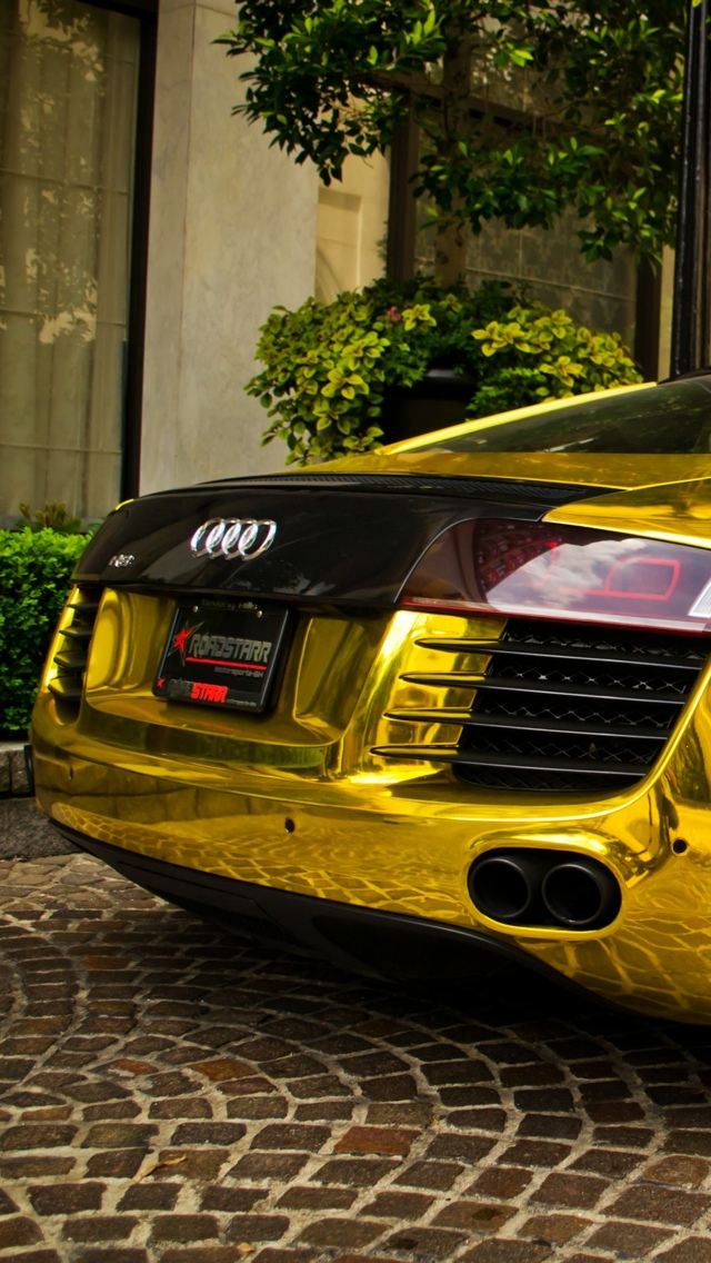 Godl Audi car iPhone 5 wallpaper 640x1136