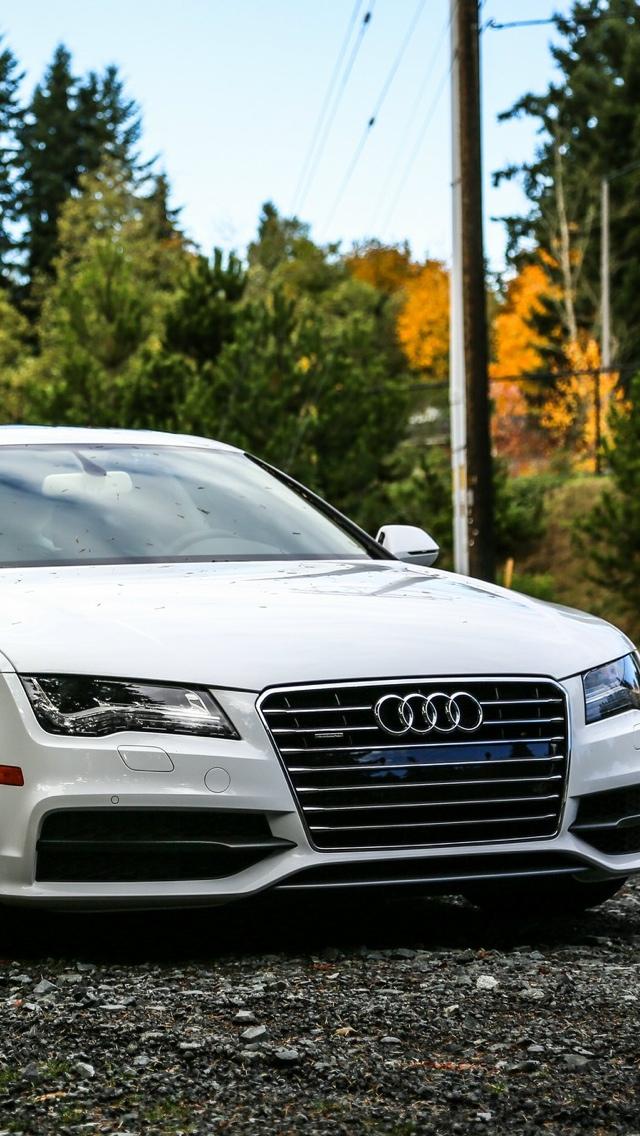 White Audi Car iPhone Wallpaper 640x1136
