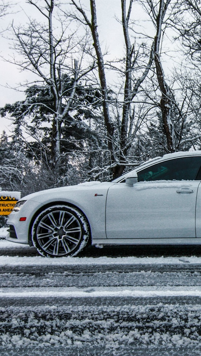 audi white snow iPhone 5 wallpaper 640x1136