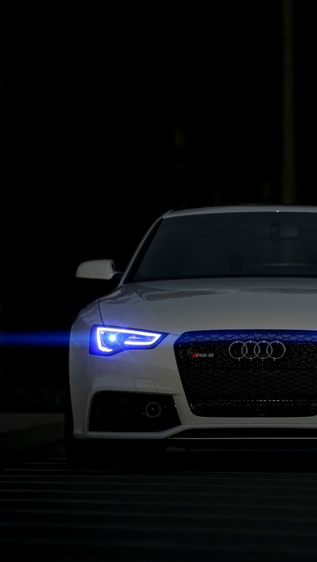 White Audi front iPhone 5 wallpaper 640x1136