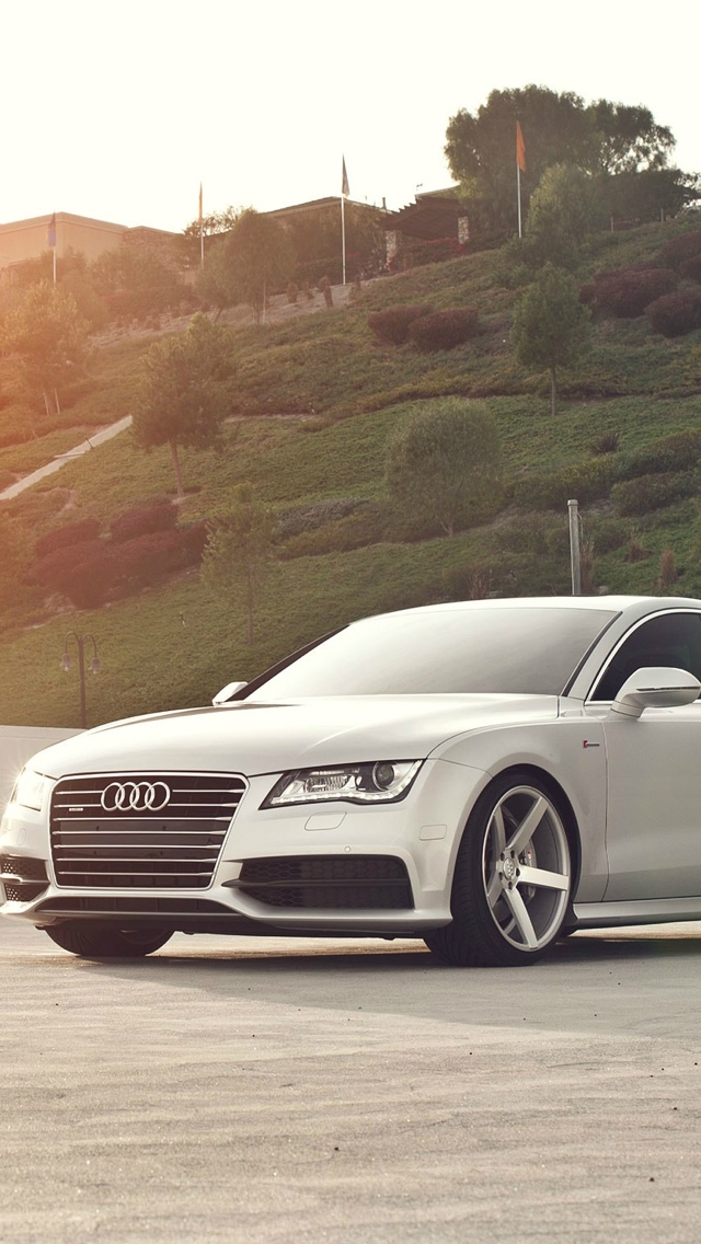 White audi on rims iPhone 5 wallpaper 640x1136