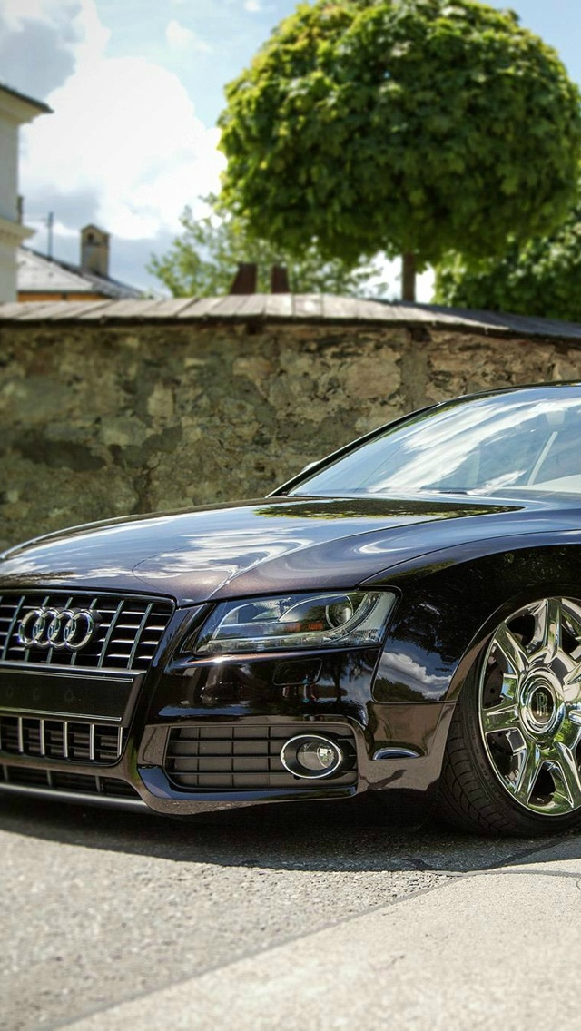Silver wheels audi A6 iPhone 5 wallpaper 640x1136