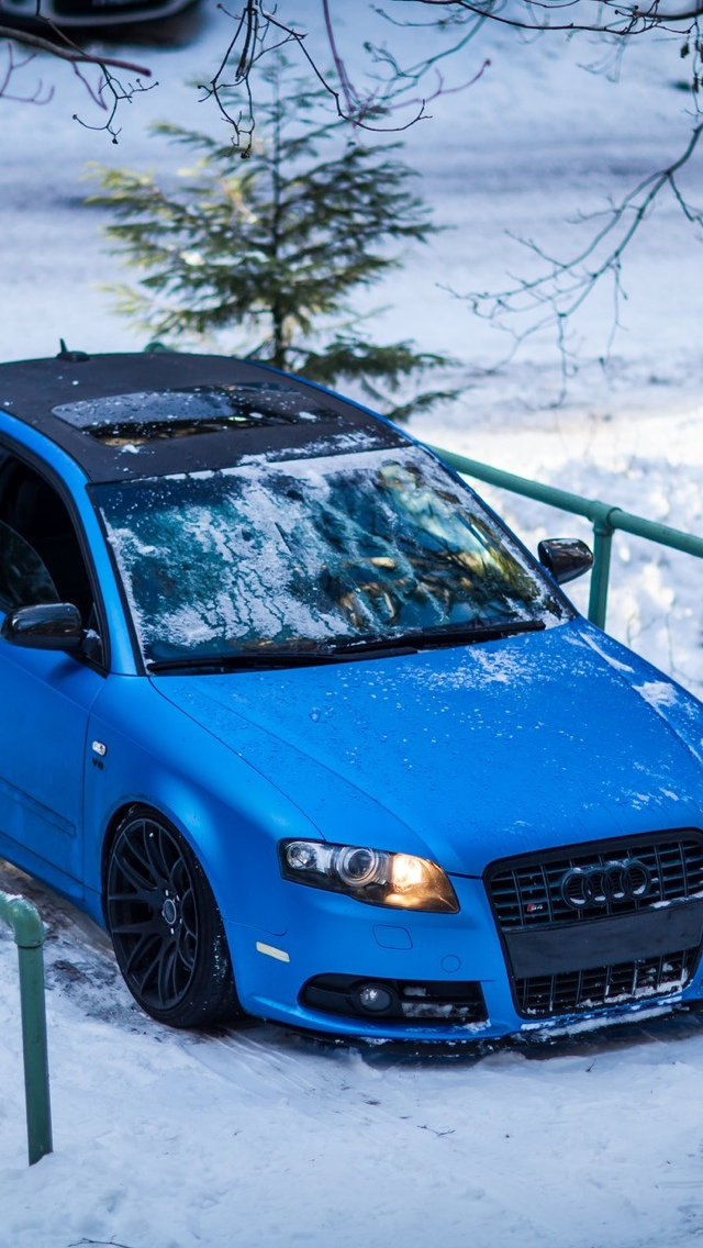Audi blue car iPhone 5 wallpaper 640x1136