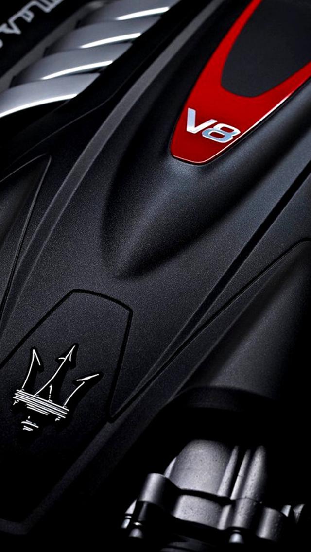 Maserati iPhone 5 wallpaper, v8 engine background 640x1136