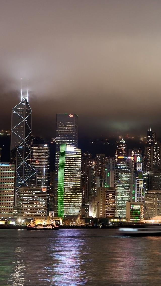 Hong Kong at night views iPhone 5 wallpaper 640*1136