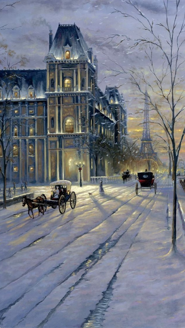 Painting Winter in Paris City view iPhone 5 wallpaper 640*1136