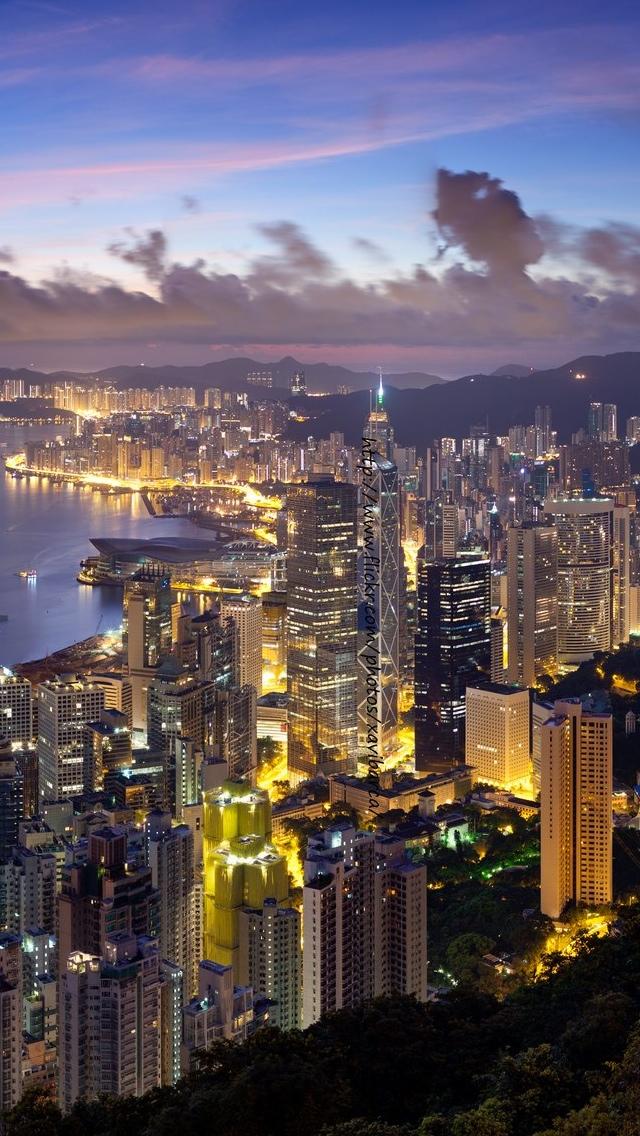 Hong Kong City views iPhone 5 wallpaper 640*1136