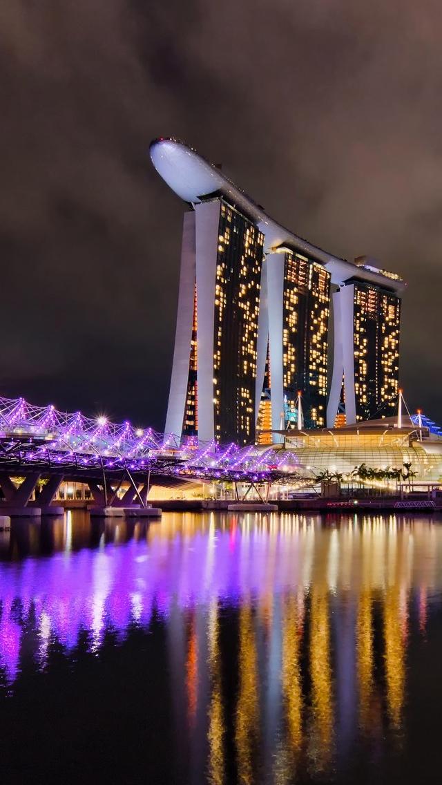 Singapore City view iPhone 5 wallpaper 640*1136