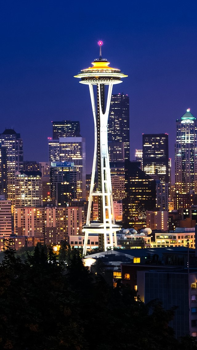 Seattle City view iPhone 5 wallpaper 640*1136