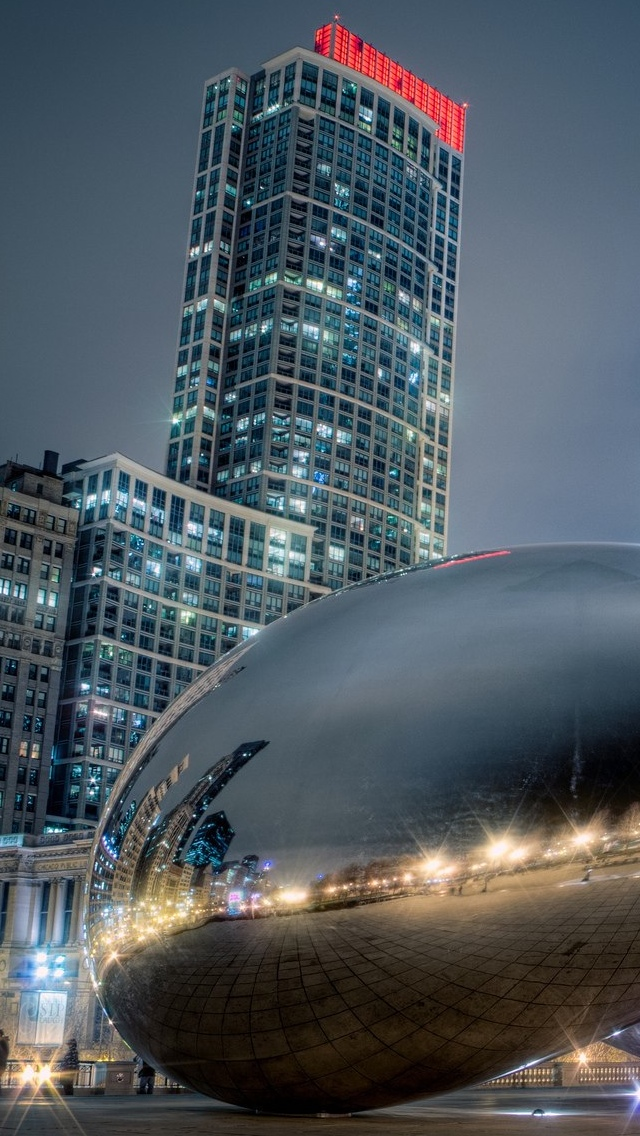 Chicago City view iPhone 5 wallpaper 640*1136