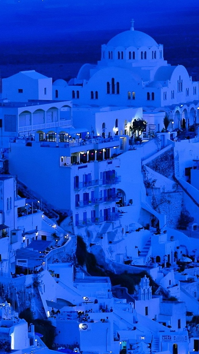 Santorini night City view iPhone 5 wallpaper 640*1136