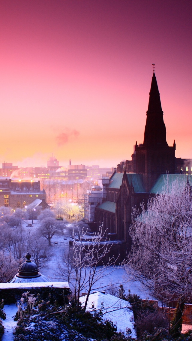 winter City view iPhone 5 wallpaper 640*1136