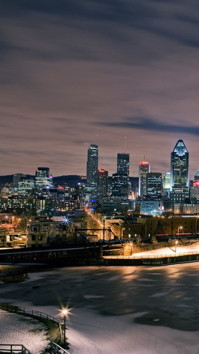 Night City view iPhone 5 wallpaper 640*1136