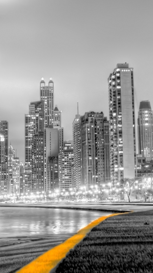 City View HDR B&W iPhone 5 wallpaper 640*1136