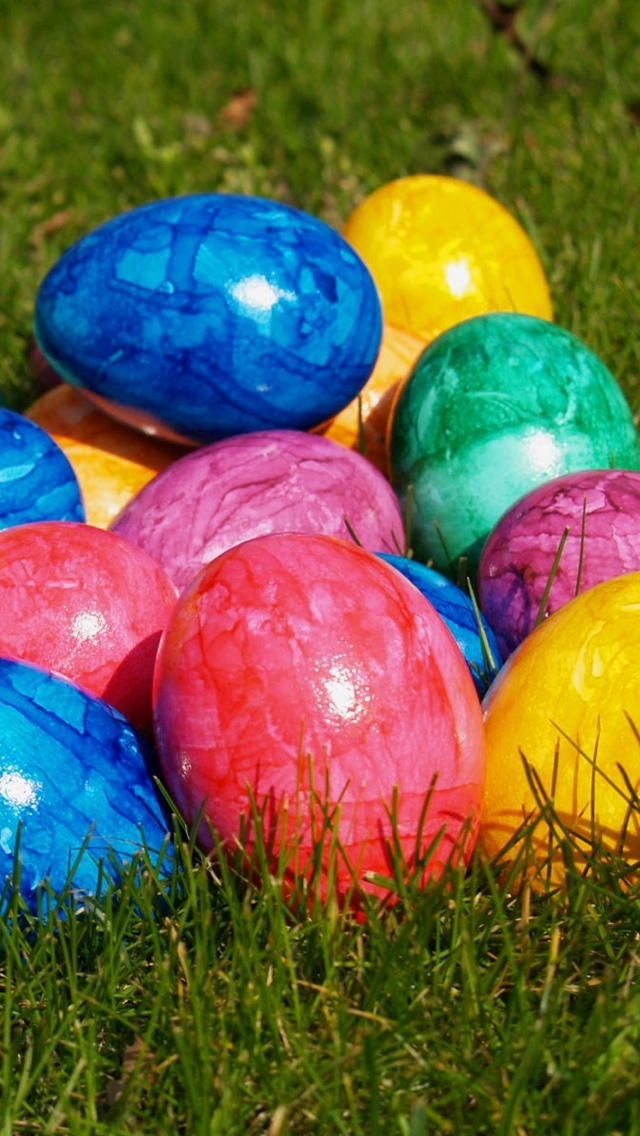 Easter Eggs on grass iPhone 5 wallpaper 640*1136
