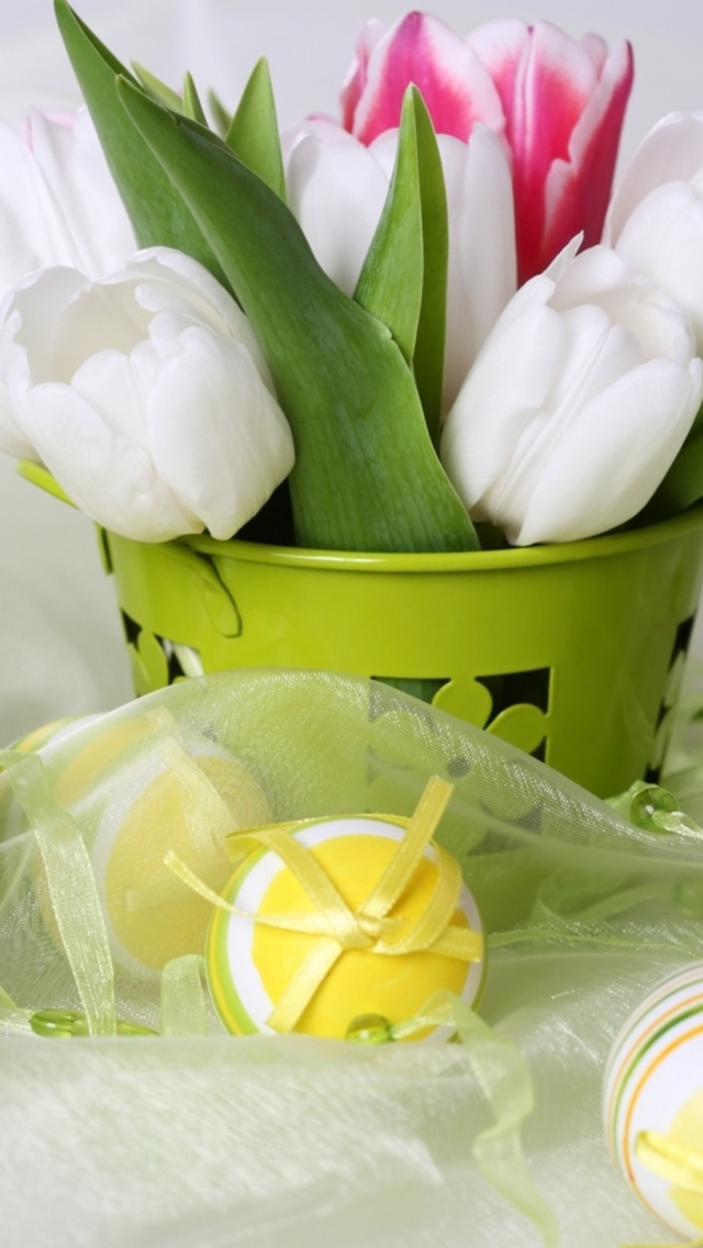 Tulips and Easter Eggs iPhone 5 wallpaper 640*1136