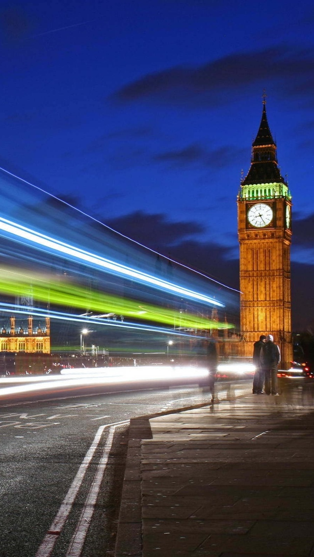 London night shot iPhone 5 wallpaper 640*1136