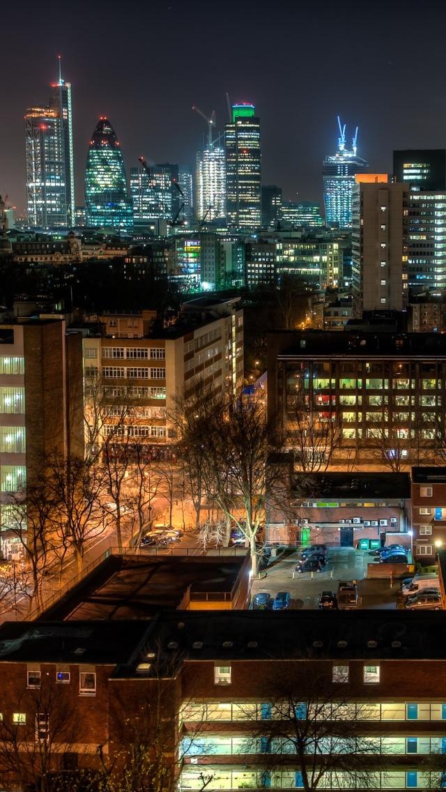 London city view at night iPhone 5 wallpaper 640*1136