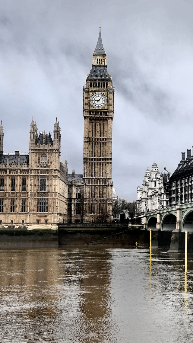 Gray Big Ben London iPhone 5 wallpaper 640*1136
