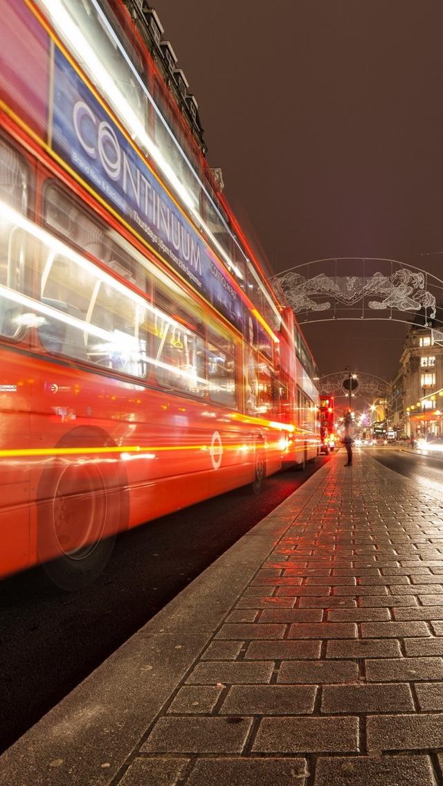 London street doubledecker iPhone 5 wallpaper 640*1136