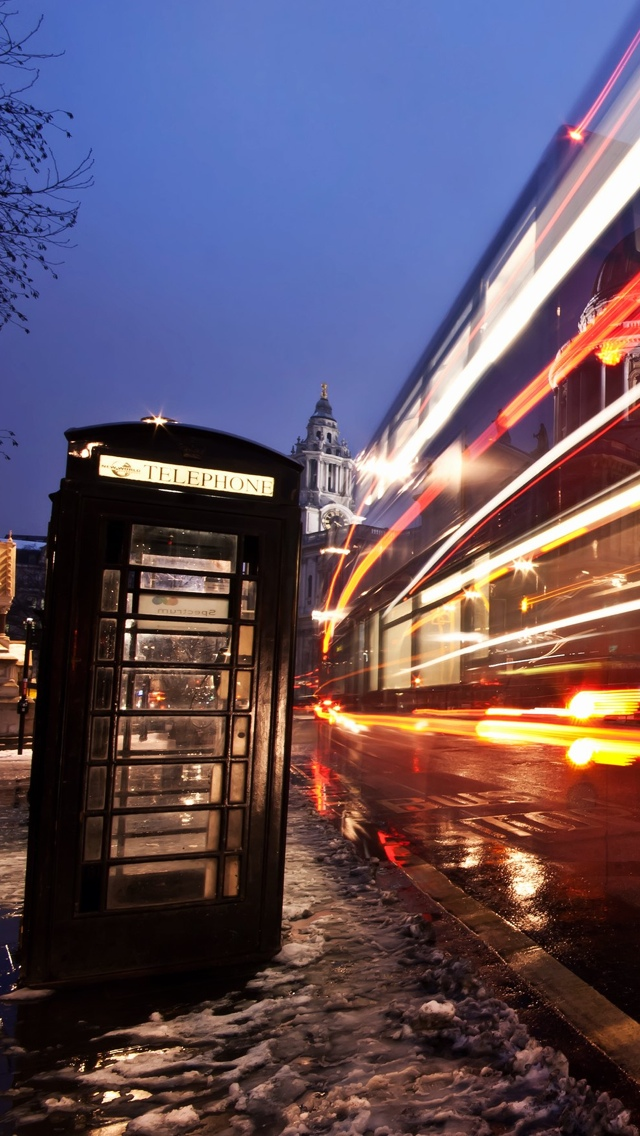 Phonebooth London iPhone 5 wallpaper 640*1136