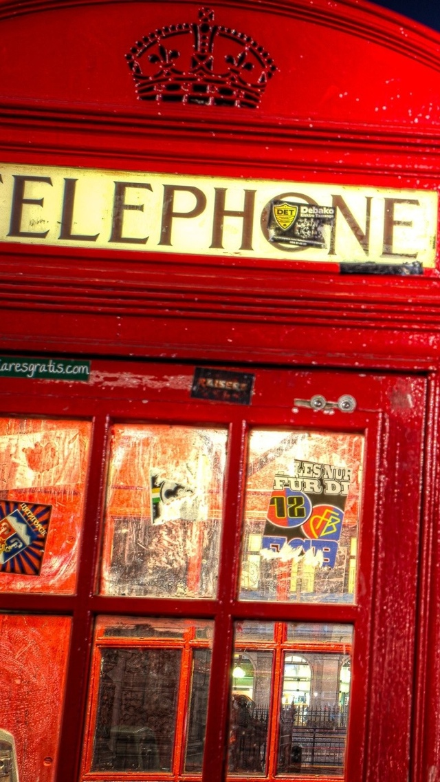 London phone booth iPhone 5 wallpaper 640*1136
