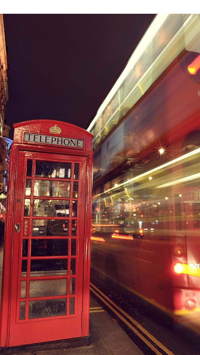 Bus and phone booth in London iPhone 5 wallpaper 640*1136