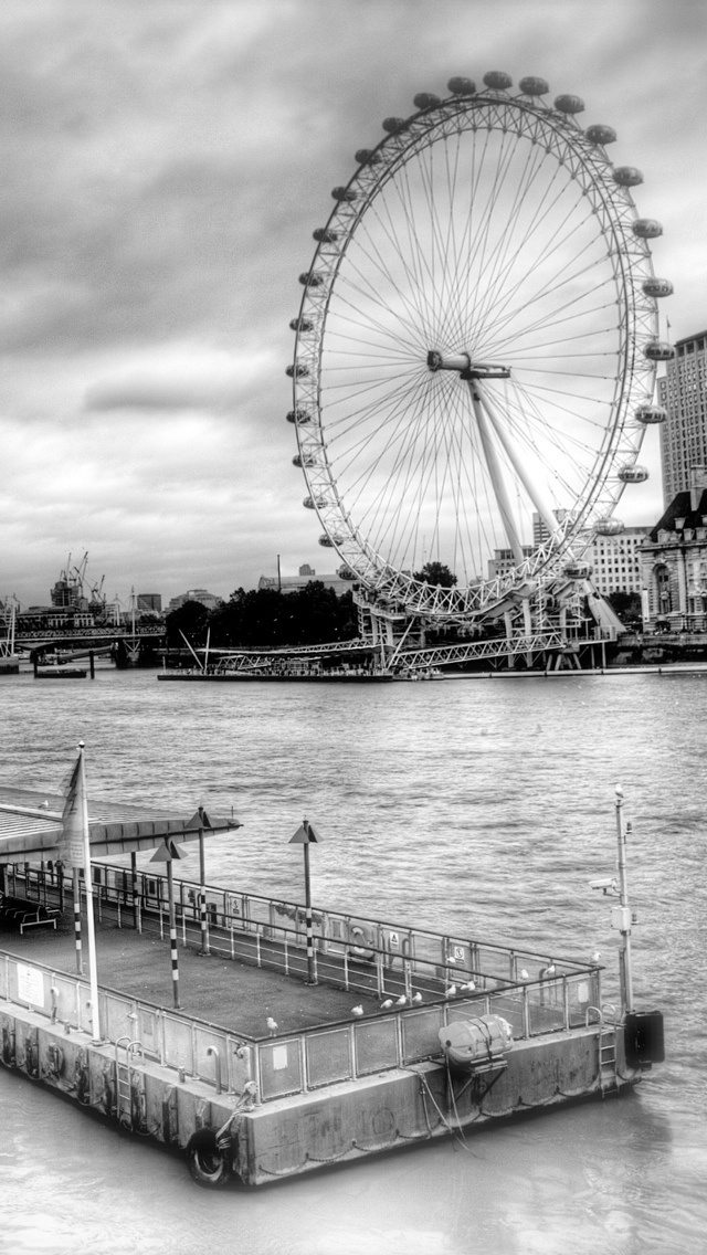 London Eye B&W iPhone 5 wallpaper 640*1136