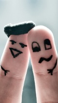 Wallpapers-For-iPhone-5-Love-Cute Faces Painted on Fingers-thumb-120×214