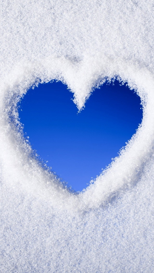 Blue Heart On Snow Surface Wallpapers For IPhone 5 Love Category 640x1136