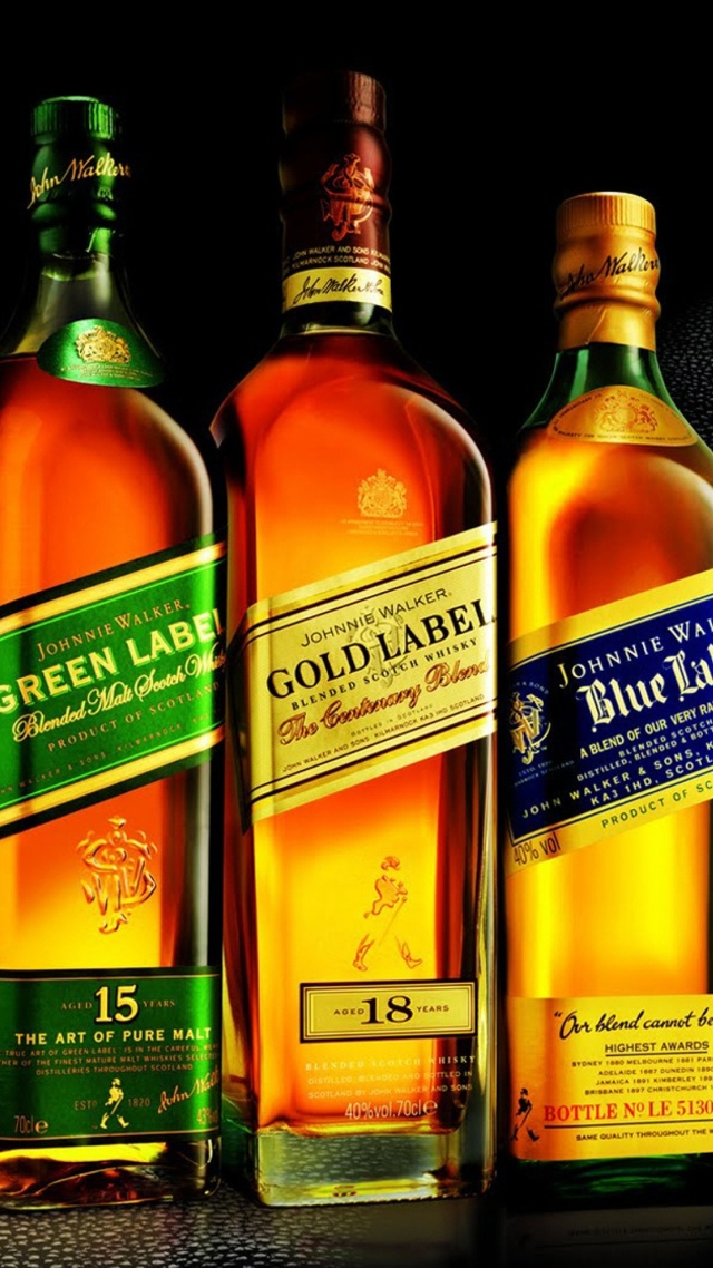 Johnnie Walker Green Gold and Blue Labels wallpaper 640x1136