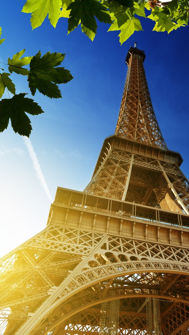 Sunlight and Eiffel Tower in Paris iPhone 5 wallpaper 640*1136
