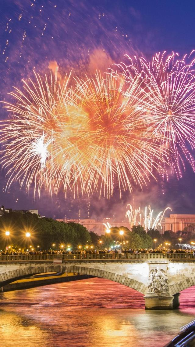 Fireworks in Paris iPhone 5 wallpaper 640*1136