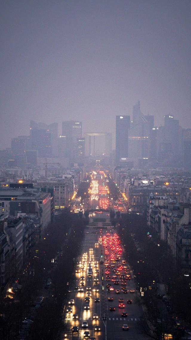 Night Street Paris iPhone 5 wallpaper 640*1136