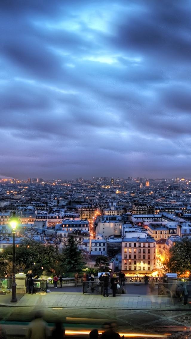 HDR Paris skyline iPhone 5 wallpaper 640*1136