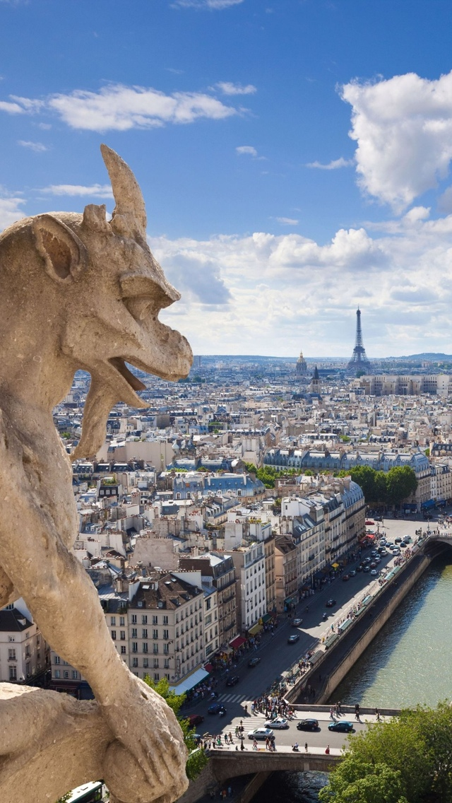 Gargoyle Notre Dame Paris iPhone 5 wallpaper 640*1136