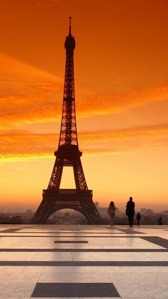 Sunset Paris Eiffel Tower View iPhone 5 wallpaper 640*1136