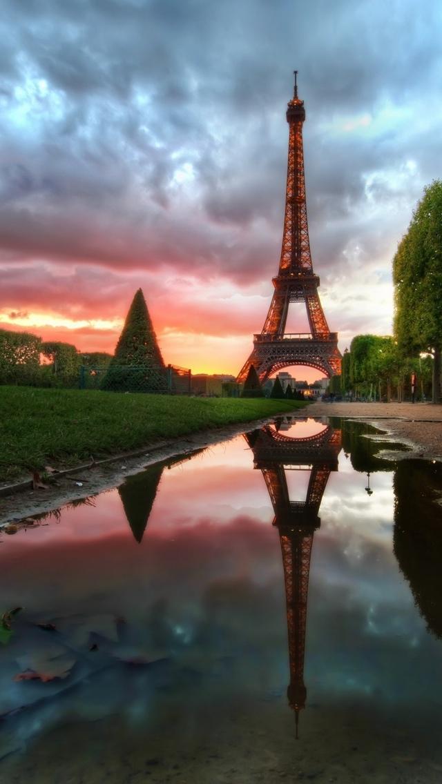 Paris at Dawn iPhone 5 wallpaper 640*1136