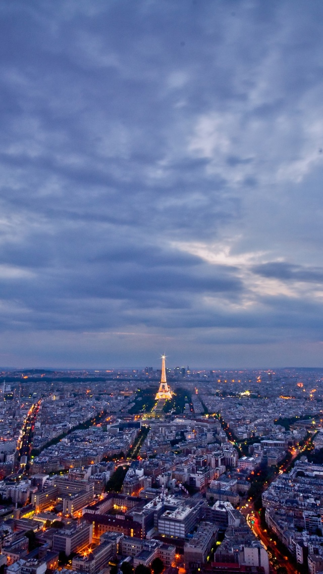 View from the top Paris iPhone 5 wallpaper 640*1136