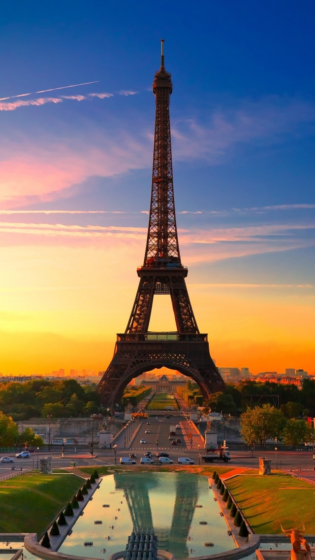 Sunset Paris night iPhone 5 wallpaper 640*1136
