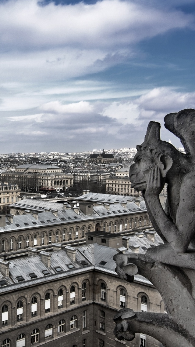 Gargoyle in Paris iPhone 5 wallpaper 640*1136