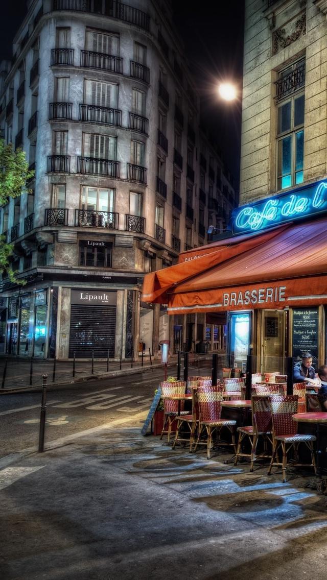 HDR Street in Paris at night iPhone 5 wallpaper 640*1136