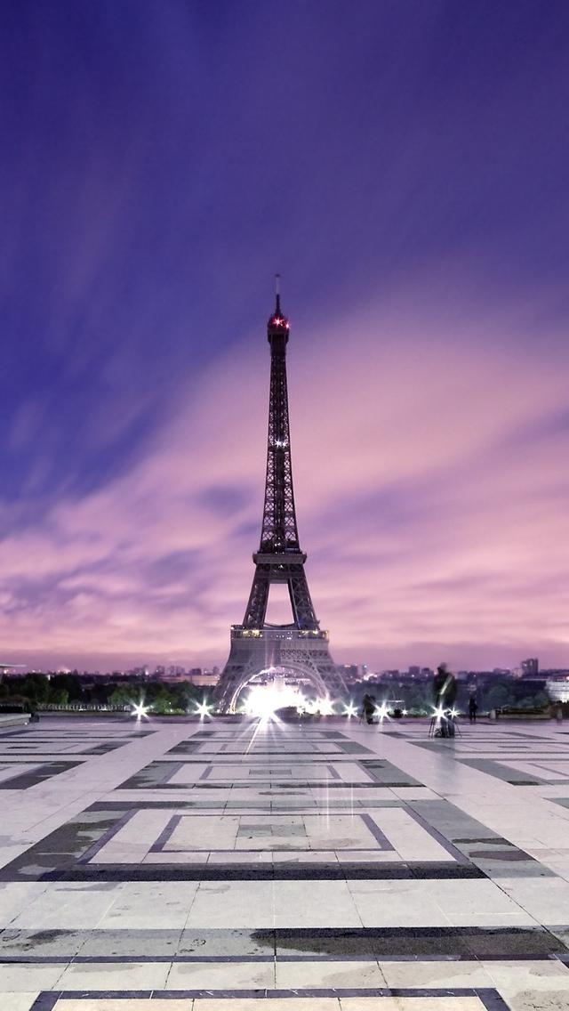 Dusk Paris Eiffel Tower View iPhone 5 wallpaper 640*1136
