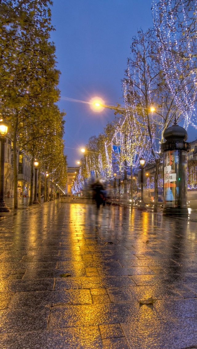 Paris street at night iPhone 5 wallpaper 640*1136