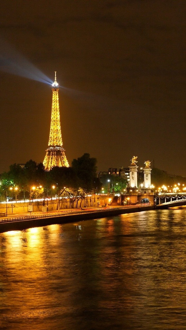 Night in Paris iPhone 5 wallpaper 640*1136