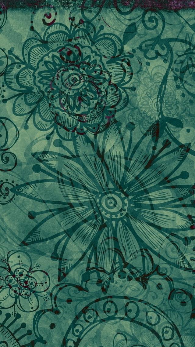 Green Pattern Texture Wallpaper iPhone 5 640*1136